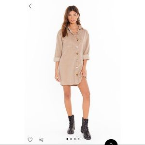 NWT Nasty Gal | Corduroy Button Down Shirt Dress 6